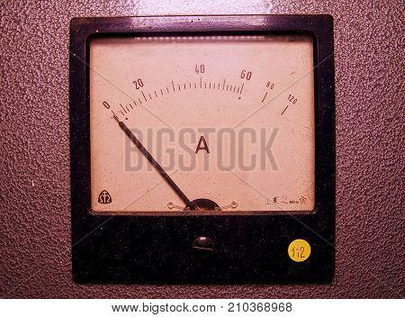 Analog ampere meter or amp meter. Close-up.