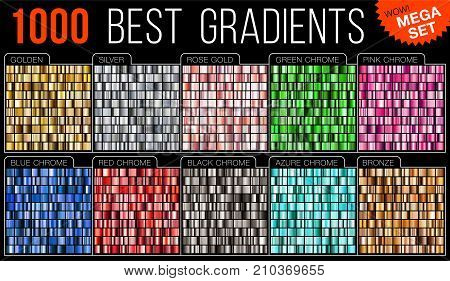 Vector mega set of gradients. Big collection colorful metallic gradient illustration. Gold silver blue red pink green azure bronze.