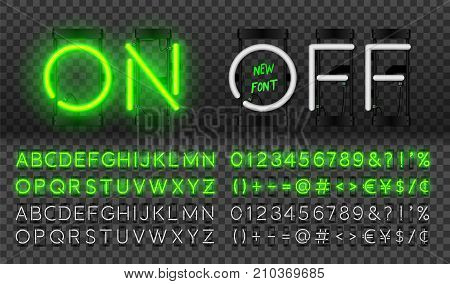 Big green neon set glowing alphabet vector Font. Glowing text effect. On and Off lamp. Neon Numbers and punctuation marks. isolated on transparent background.