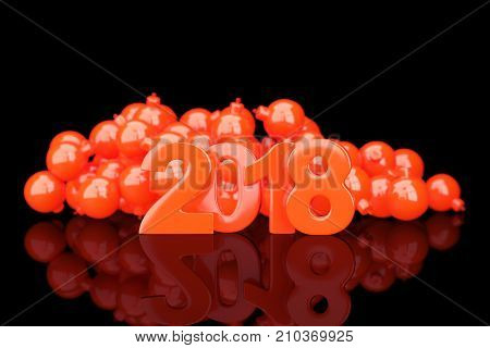 Red 2018 new year figures with baubles in the back on black background. 3d rendering