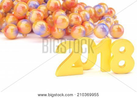 Golden 2018 new year figures with baubles in the back isolated on white background. 3d rendering