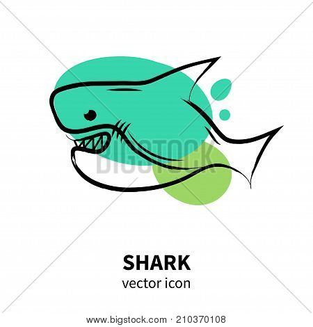 Vector shark icon on white background. Isolated fich icon for polygraphy web design logo app UI.