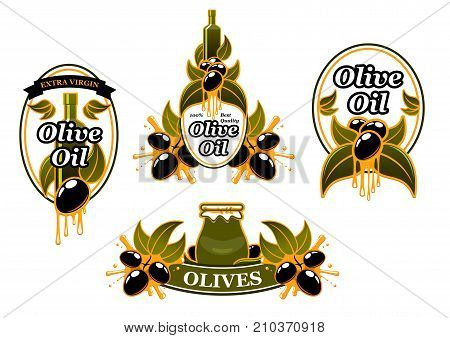 Olive oil icons or labels of green and black olives for extra virgin product package design template. Vector set of oil bottle or jar and drops on olive leaf for best quality organic cooking oil