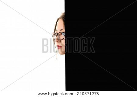 creative profile face Korean girl on black and white background