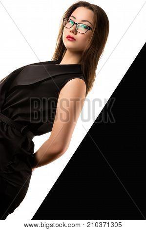 beautiful elegant Korean girl on black and white background