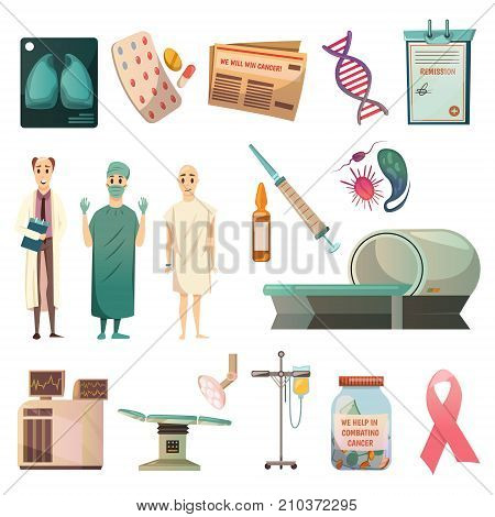Defeat cancer medical orthogonal icons set with oncologist surgeon bald patient and mri scanner isolated vector illustration