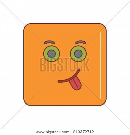 Sick emoticon face cartoon icon vector illustration for design and web isolated on white background. Vector emoticon. Orange emoticon face.