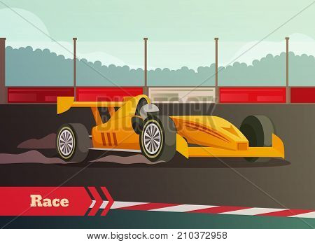 Racing flat background with images of fast racing car and driver on race track with kerbsides vector illustration