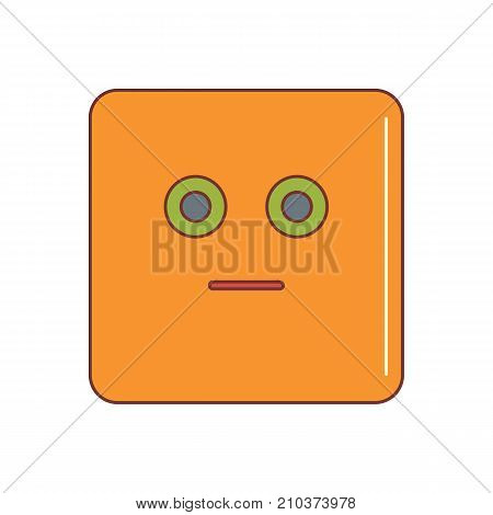 Puzzled emoticon face cartoon icon vector illustration for design and web isolated on white background. Vector emoticon. Orange emoticon face.