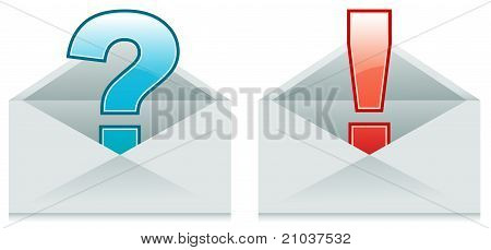 Envelopes With Exclamation And Question Marks