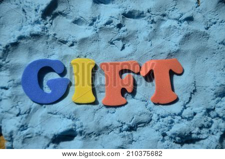 word gift on a  abstract colorful background