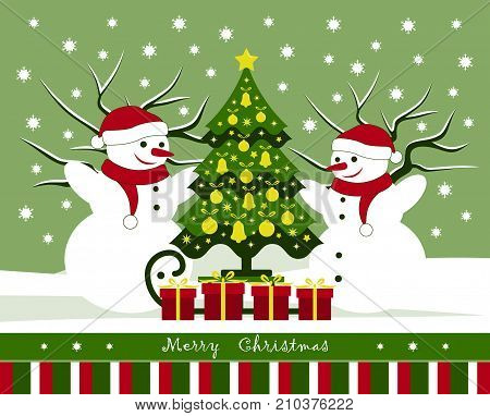 vector christmas card with pair of snowmen and sledge with christmas tree and gifts in snowy landscape
