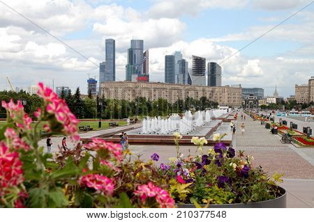 Moscow Russia - July 19 2017: View to Kutuzov avenue and Moscow City Complex from Poklonnaya Gora.