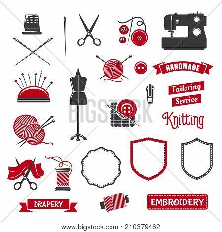 Tailoring, sewing and knitting icons of atelier tailor or dressmaker salon. Vector isolated icons of sewing machine, dress on dummy mannequin, scissors or threads and knit needles in wool clew poster