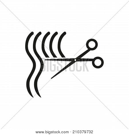 Icon of haircut process. Shears, cutting, scissors. Hairdressing salon concept. Can be used for topics like split ends, hair care, styling hair