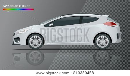 Realistic sportcar or hatchback vehicle. SUV car set on transparent background, template for branding and advertising. Easy color change. Vector isolated, view side.