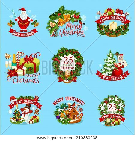Christmas holiday icon set. Christmas tree and holly wreath, gift box, Santa Claus, snowman and candy, pine branch with snowflake, ball and bell, candle, red sock and ribbon banner for emblem design