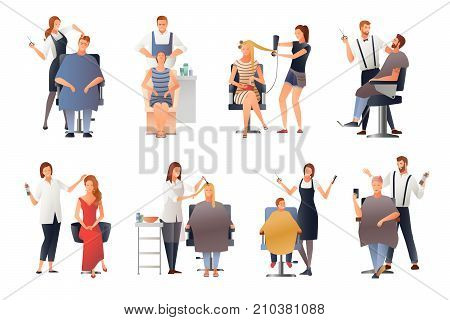 Hairdresser stylist barber gradient flat people images collection of isolated doodle characters of hairdressing experts with clients vector illustration