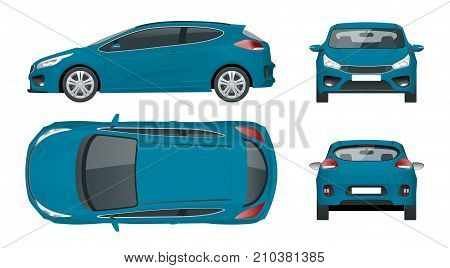 Sportcar or hatchback vehicle. SUV car set on white background, template for branding and advertising. Template vector isolated on white View front, rear, side, top.