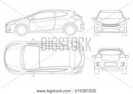 Sportcar or hatchback vehicle. SUV car set on outline, template for branding and advertising. Template vector isolated on white View front, rear, side, top.
