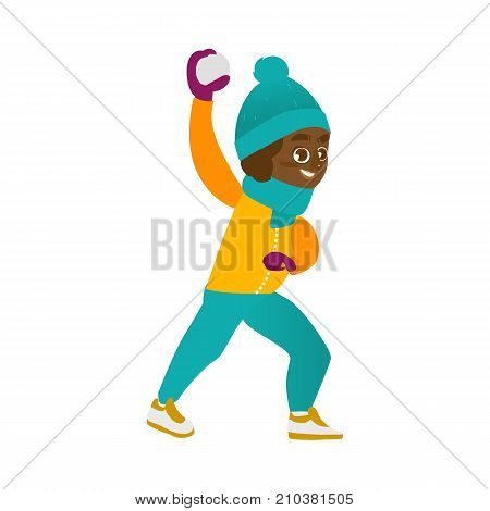 vector boy having fun with snow outdoors. Flat cartoon isolated illustration on a white background. Kid plays in snowball smiling. Winter children activity concept