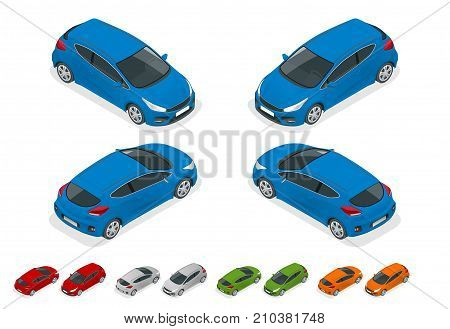 Isometric Sportcar or hatchback vehicle. SUV car set on white background, template for branding and advertising