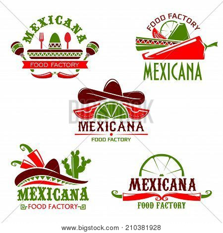 Mexican food cuisine or restaurant icon for cafe menu. Vector isolated set of Mexico sombrero hat, spicy chili jalapeno pepper, Mexicana tequila agave cactus drink with lime and nachos or burrito