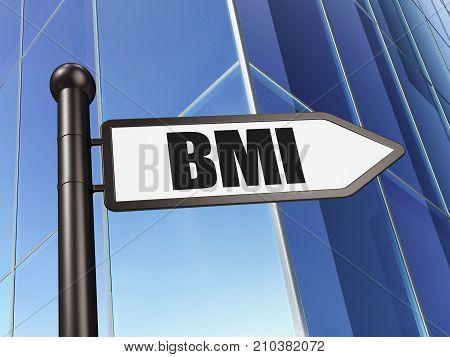 Medicine concept: sign BMI on Building background, 3D rendering