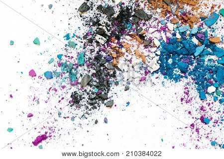 Eyeshadow Cosmetic Powder Scattered Copy Space. Various Set Isolated On White Background. The Concep
