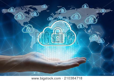 hand holding with virtual screen padlock and cloud computing global network Cyber Security Data Protection Business Technology Privacy concept Internet Concept of global business cloud computing concept.