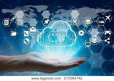 hand holding with virtual screen cloud computing and Interface Icons global network Cyber Security Data Protection Business Technology Privacy concept Internet Concept of global business cloud computing concept.