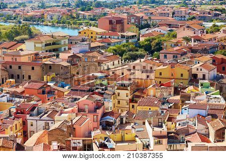 Aerial View Of Colorful Houses In Bosa, Sardinia, Italy