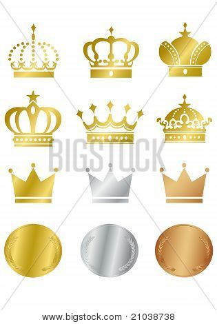 Gold crown collection vector