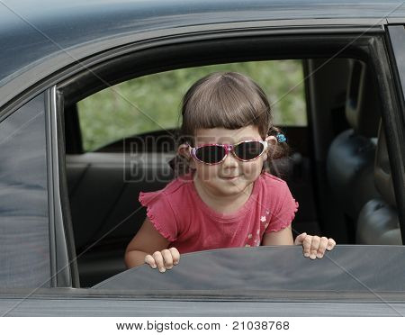 Portrait of baby in car