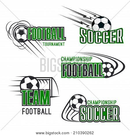 Soccer tournament or football championship icons of flying ball goal. Vector isolated set of goal gates and green football field for soccer league fan club or sport game international contest