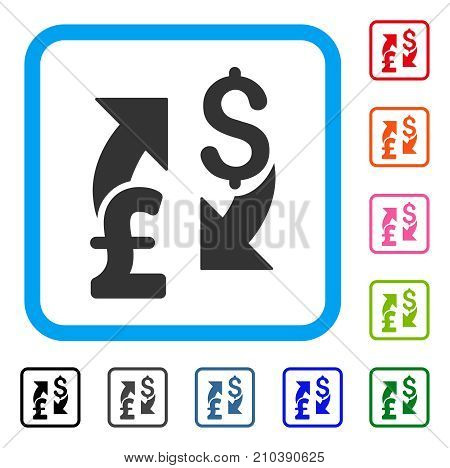 Dollar Pound Exchange icon. Flat gray iconic symbol inside a light blue rounded square. Black, gray, green, blue, red, orange color variants of Dollar Pound Exchange vector.