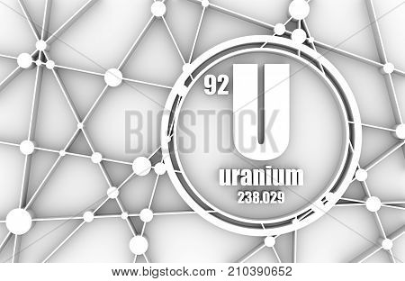 Uranium chemical element. Sign with atomic number and atomic weight. Chemical element of periodic table. Molecule And Communication Background. Connected lines with dots. 3D rendering
