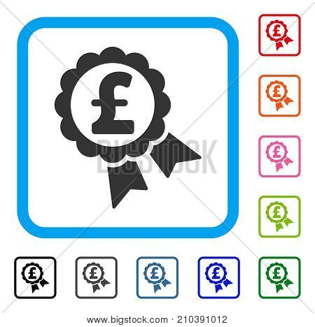 Featured Pound Price Label icon. Flat grey pictogram symbol in a light blue rounded rectangle. Black, gray, green, blue, red, orange color variants of Featured Pound Price Label vector.