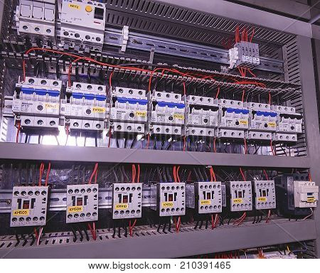 HUSTOPECE, CZECH REPUBLIC - APRIL 10, 2017: Image shows circuit breakers and electrical contactors, brand SCHRACK. Close-up. Modern distribution case. Contorl cubicle.