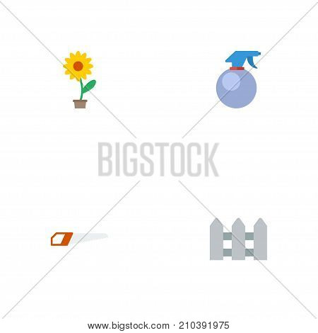 Flat Icons Hacksaw, Flowerpot, Fence And Other Vector Elements