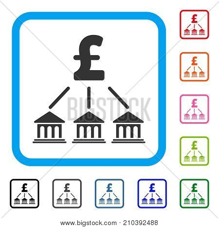 Pound Bank Organization icon. Flat grey iconic symbol in a light blue rounded frame. Black, gray, green, blue, red, orange color versions of Pound Bank Organization vector.