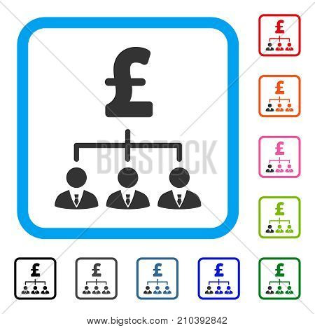 Pound Banker Links icon. Flat gray iconic symbol in a light blue rounded rectangular frame. Black, gray, green, blue, red, orange color additional versions of Pound Banker Links vector. poster