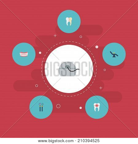 Flat Icons Treatment, Halitosis, Furniture And Other Vector Elements