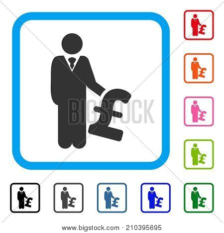 Pound Investor icon. Flat grey pictogram symbol inside a light blue rounded rectangle. Black, gray, green, blue, red, orange color variants of Pound Investor vector.