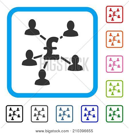 Pound Payment Clients icon. Flat gray pictogram symbol in a light blue rounded square. Black, gray, green, blue, red, orange color additional versions of Pound Payment Clients vector.