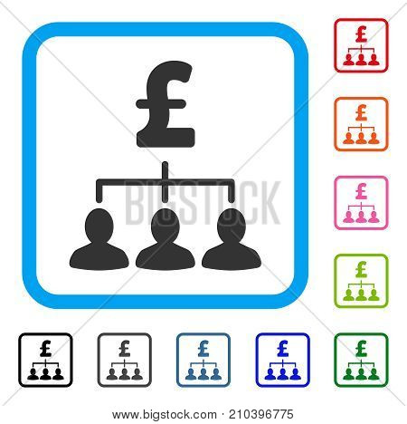 Pound Payment Relations icon. Flat grey pictogram symbol in a light blue rounded rectangular frame. Black, gray, green, blue, red, orange color variants of Pound Payment Relations vector.