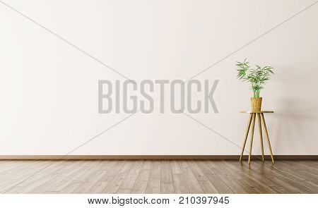 Empty Interior Background With Plant 3D Rendering
