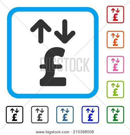 Pound Transactions icon. Flat grey pictogram symbol inside a light blue rounded square. Black, gray, green, blue, red, orange color additional versions of Pound Transactions vector.