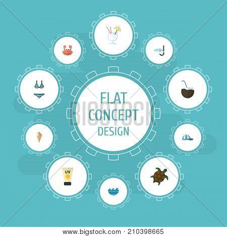 Flat Icons Tortoise, Aqualung, Sorbet And Other Vector Elements