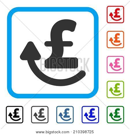 Repay Pound icon. Flat gray pictogram symbol in a light blue rounded square. Black, gray, green, blue, red, orange color versions of Repay Pound vector. Designed for web and software user interface.